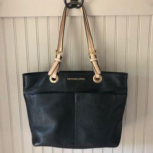 Michael Kors Bedford Black Pebble Leather Tan